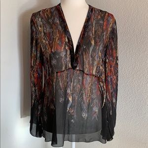 Tops - Feather Print Sheer Long Sleeve V Neck Blouse L
